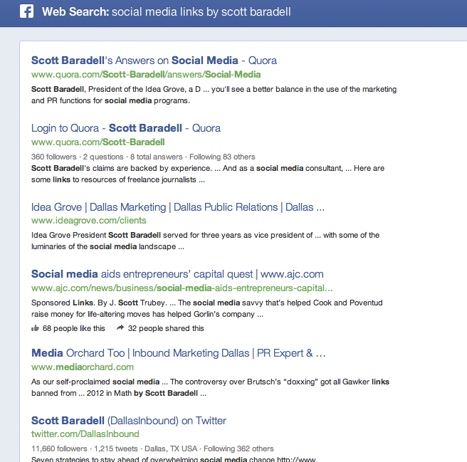 friend links from facebook search